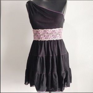 Chelsea & Violet Dress Black Purple One Shoulder